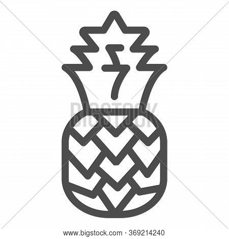 Pineapple Line Icon, Summer Concept, Tropical Fruit Sign On White Background, Ananas Icon In Outline