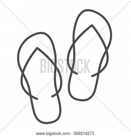 Slippers Thin Line Icon, Summer Concept, Flip-flop Shoes Sign On White Background, Beach Slippers Ic