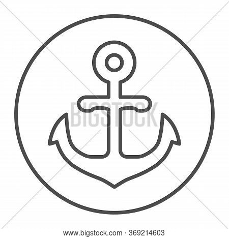 Anchor Emblem In Round Shape Thin Line Icon, Marine Concept, Anchor Sign On White Background, Nautic