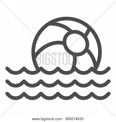 Beach Ball On Waves Line Icon, Summer Concept, Toy Ball Floating On Water Sign On White Background,