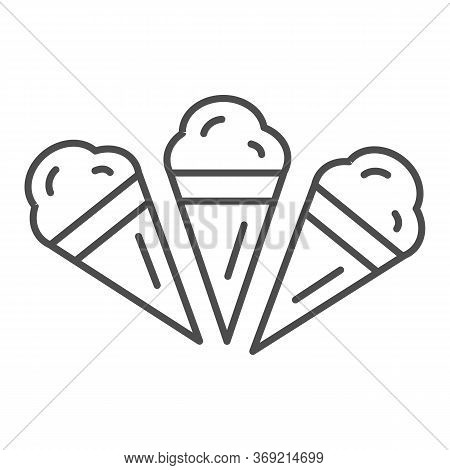 Three Ice Creams Thin Line Icon, Summer Concept, Set Of Ice Cream Cones Sign On White Background, Ic