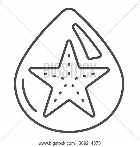 Starfish In Drop Of Water Thin Line Icon, Summer Concept, Starfish Sign On White Background, Droplet