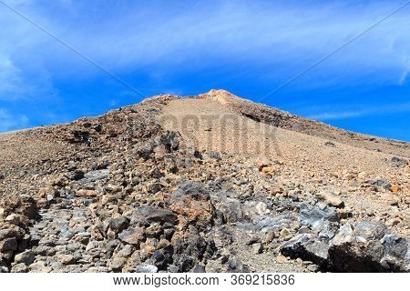 Trail To Volcano Mount Teide Peak On Canary Island Tenerife, Spain