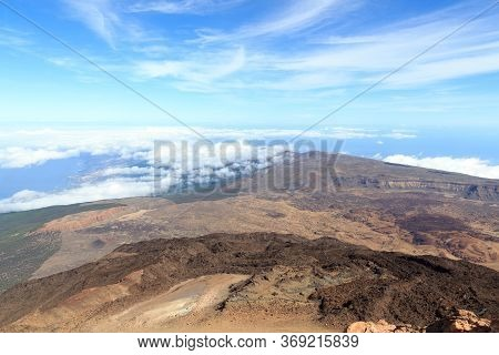 Panorama View From Volcano Mount Teide Towards Teide Observatory On Canary Island Tenerife, Spain