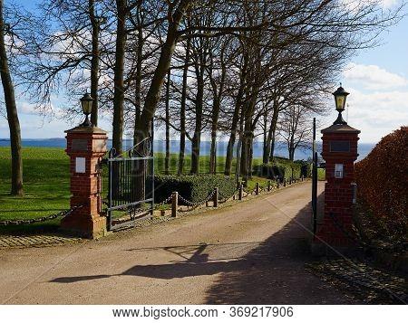 Classical Design Black Wrought Iron Gate In A Beautiful Green Garden Mansion House Denmark