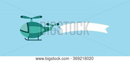 Green Cartoon Helicopter Dragging A White Blank Flag Banner In Air