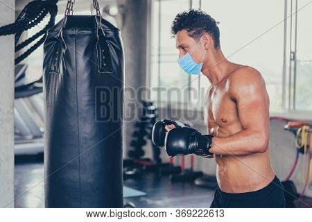 Sport Man Wear Face Mask For Boxing At Fitness Gym. Social Distancing And Wellness. Fit And Firm For