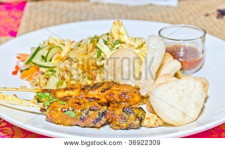 Chicken Satay On Skewers And Rice