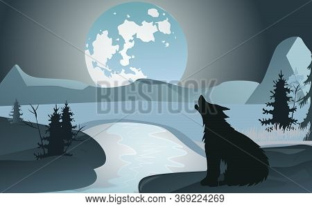 Night Landscape With A Howling Wolf On A Background Of The Moon And Mountains. Winter Stream. Design