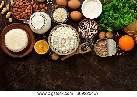 High Calcium Food. A Variety Of Products Rich In Calcium. Top View, Flat Lay, Copy Space