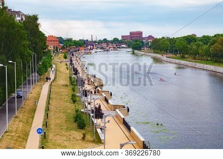 Kaliningrad, Russia - June 13, 2018: Cityview Of The Pregolya River And The Embankment Of Admiral Tr