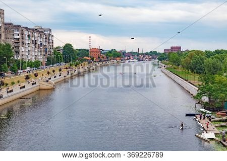 Kaliningrad, Russia - June 13, 2018: Cityview Of The Pregolya River And The New Embankment Of Admira