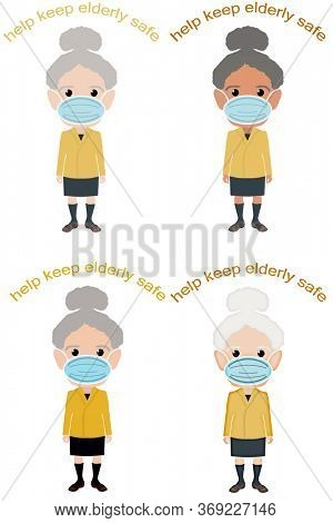 Set of Elderly women different illustration styles wearing face mask with Help Keep Elderly Safe message.