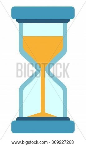 Hour Glass Icon Vector, Isolated Clock With Falling Sand Measuring Time. Countdown Measurement Of Ho