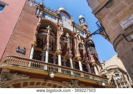 Barcelona, Spain - May 15, 2017: View Of Palace Of Catalan Music (the Palau De La Musica Catalana In