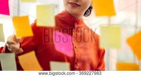 Casual Creative Happy Smile Asian Business Woman Planning Strategy Analysis Putting Post It Stickers