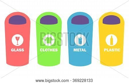 Rubbish Sorting In Garbage Bins With Signs Vector, Isolated Dustbin For Metal, Glass, Plastic Or Clo