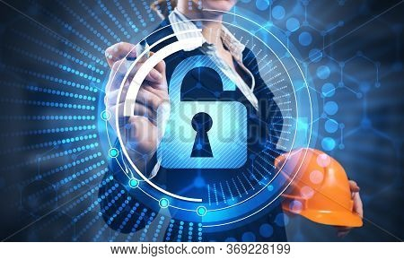 Computer Security And Information Technology. Virtual Padlock Blue Hologram And Business Woman With