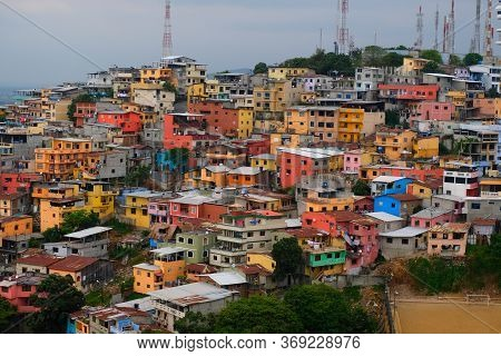 Colorful Houses, Favela On The Santa Ana Hill In Guayaquil, Ecuador