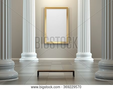 Museum with colonnade and empty golden frame on wall - 3d rendering