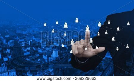 Hand Click Businessman Flat Icon With Connection Line Over Modern City Tower, Street, Expressway And