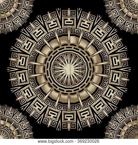 Tribal Round Gold 3d Mandalas Vector Seamless Pattern. Ornamental Ethnic Background. Repeat Floral B