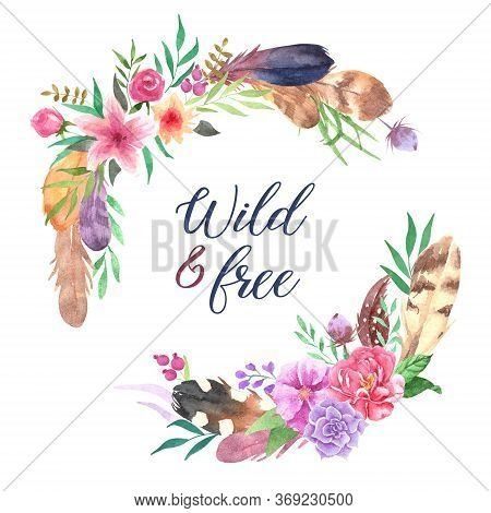 Hand Drawn Watercolor Boho Elements Set. Boho Style Feathers, Isolated Illustration On White Backgro
