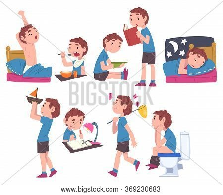Cute Boy Daily Routine Activities Set, Child Waking Up, Eating Breakfast, Playing With Toys, Reading