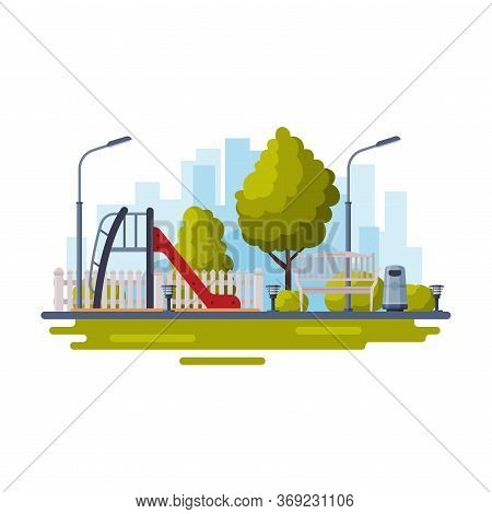 City Public Park With Playground For Kids Flat Style Vector Illustration On White Background