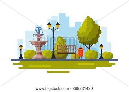 City Public Park With Marble Fountain, Streetlights, Wooden Bench Flat Style Vector Illustration On