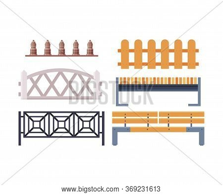 Decorative Fences Collection, Wooden, Wrought Iron And Stone Fence, Urban Infrastructure Design Elem