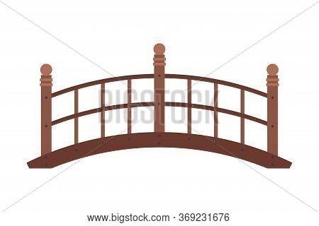 Arched Wooden Bridge, Urban Infrastructure Design Element, Flat Style Vector Illustration On White B