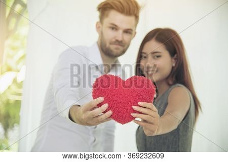 Romantic Couple Lover Look At Other Focus On Beautiful Woman On Bed. Woman Smiling To Boyfriend. Lov