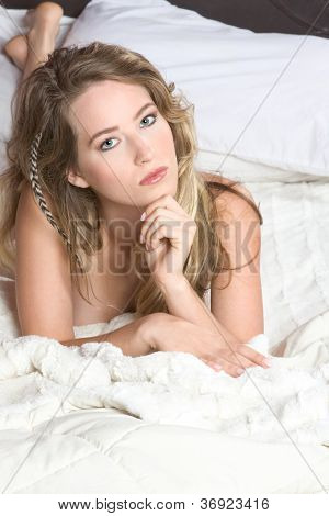 Young Sexy Naked Slim Petite Caucasian Woman On Bed