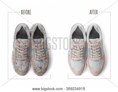 Pair Of Trendy Shoes Before And After Cleaning On White Background, Top View