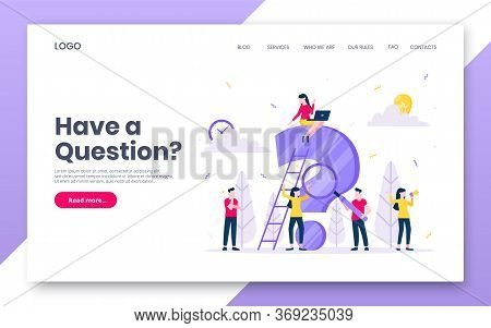 Faq Or Q And A Internet Landing Page Concept Web Template. Teamwork Characters Working Together With