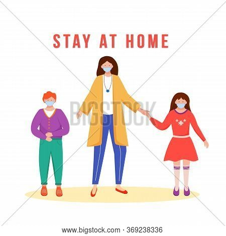 Stay At Home Flat Color Vector Faceless Character. Mother With Children In Medical Masks. Family Hea