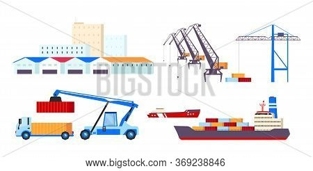 Maritime Transportation Flat Color Vector Objects Set. Freight Ships, Cargo Containers, Heavy Cranes