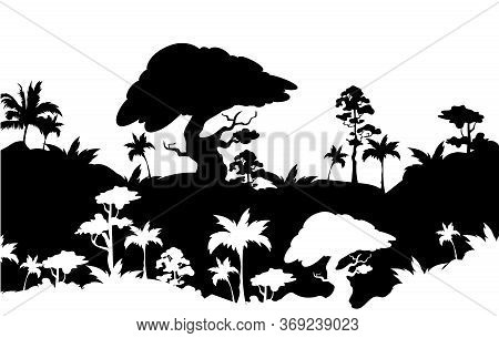 Jungle Black Silhouette Vector Illustration. Subtropical Rainforest Foliage. Trees And Palms On Hill