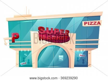 Supermarket Front Cartoon Vector Illustration. Mall Building Flat Color Object. Hypermarket Shopfron