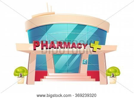 Pharmacy Storefront Cartoon Vector Illustration. Clinic Building Flat Color Object. Hospital Exterio