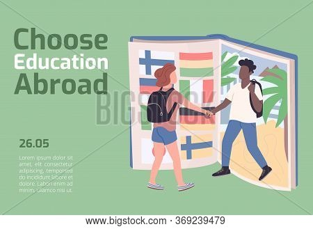 Choose Education Abroad Banner Flat Vector Template. Foreign College Brochure, Poster Concept Design