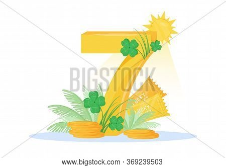 Lucky Seven Flat Concept Vector Illustration. Fortunate Number With Four Leaf Clovers And Lucky Tick