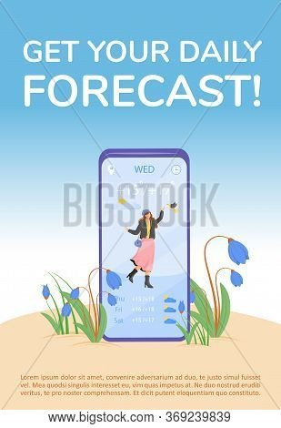 Get Your Daily Forecast Poster Flat Vector Template. Check Outdoor Temperature With Smartphone. Broc