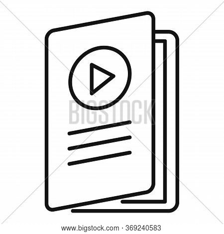 Video Lesson Folder Icon. Outline Video Lesson Folder Vector Icon For Web Design Isolated On White B