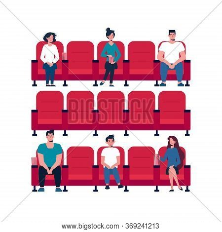 Social Distance In The Cinema. People Keep Their Distance, Sit Through One Chair, Safe. Girls And Me