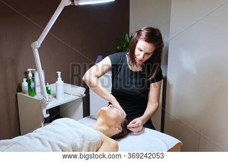 Mesotherapy, Hair Treatment. Mature Woman With Hair Loss Problem Receiving Treatment In Clinic, Cosm