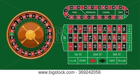 European Roulette Placed On Green Surface With A Classic Betting Grid. Red & Black Betting Casino Sq