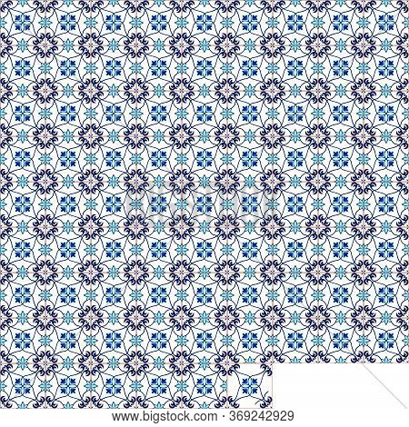 Traditional Ornament Portuguese, Decorative Tiles Azulejos. Abstract Background. Ceramic Tiles. Vect