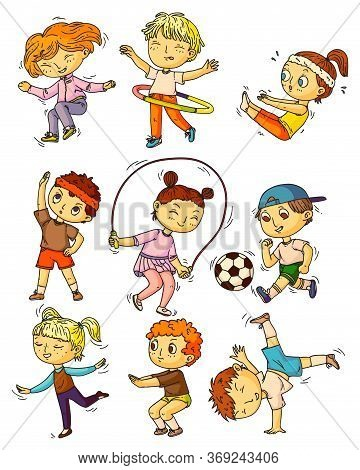Kids Sports. Children Working Out, Doing Sports Activity Set. Happy Kids People Training, Exercising